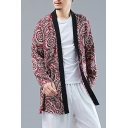Hot Fashion Chinese Style Floral Print Long Sleeve Open Front Red Coat for Men