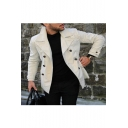 Men's Popular Notched Lapel Collar Single Breasted Plain Casual Fitted Trench Jacket