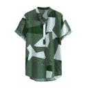 Summer Hot Sale Geometric Pattern Casual Lapel Collar Short Sleeve Cotton Shirt for Guys