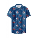 New Trendy Cool Sailing Boat Pattern Mens Basic Short Sleeve Lapel Collar Button Up Beach Shirt