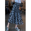 Exclusive High Rise Small Check Pattern Layered Ruffle A-line Midi Skirt