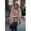 Womens Fashion Plain Turtleneck Boxy Long Sleeve Cape Sweater Knitwear