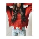 Ladies Plain Tassel Hem Ribbed Knit V-Neck Crop Sleeve Shredded Sweater