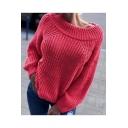 Womens Off-Duty Plain Boat Neck Raglan Sleeve Boxy Ribbed Knit Sweater