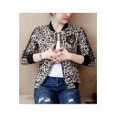Popular Tiger Crest Leopard Printed Zip Up Tailored Cropped Baseball Jacket Coat