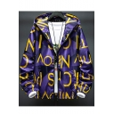 Guys Cool Fashion Letter Print Long Sleeve Casual Loose Zip Up Hooded Jacket Coat