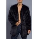 Guys Winter New Stylish Leisure Plain V-Neck Long Sleeve Open Front Fluffy Fleece Coat