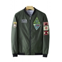 New Trendy Embroidery Epaulets Print Long Sleeve Stand-Collar Zip Up Fitted Bomber Jacket