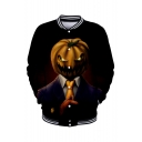Popular Halloween Pumpkin Pattern Rib Stand Collar Long Sleeve Button Front Black Unisex Baseball Jacket