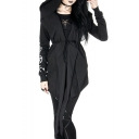 Prophet Gothic Style Tied Waist Asymmetric Hem Short Hooded Black Trench Coat