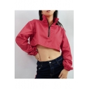Rose Red Sexy Stand Up Collar Half Zip Elastic Cuffs Cropped Jacket Coat