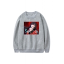 SENPAI Letter Comic Figure Printed Round Neck Long Sleeve Loose Fit Unisex Pullover Hoodie