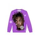 American Hot Popular Rapper Comic Figure 3D Printed Purple Long Sleeve Casual Loose Pullover Sweatshirts