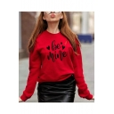 Simple Love Letter Love Heart Printed Round Neck Long Sleeves Pullover Sweatshirt
