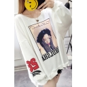 New Trendy Cut Out 58 Letter Girl Printed Round Neck Long Sleeve Loose Pullover Sweatshirt