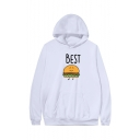 Unisex Popular Fashion Letter BEST FRIENDS Hamburger French Fries Cartoon Printed Long Sleeve Casual Sports Pullover Hoodie