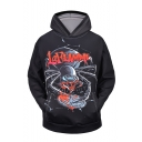 New Stylish Letter Leaf Spider 3D Printed Black Long Sleeve Pullover Hoodie with Pocket