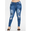 Women High Waist Butterflies Embroidered Distressed Blue Skinny Jeans