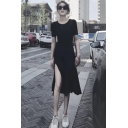 Womens Summer Round Neck Short Sleeve Split Front Black Pleated Sheath Maxi Dress