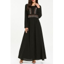 Womens Fashion Round Neck Long Sleeve Tribal Print Embroidery Webbing Tunic Black A-Line Maxi Dress