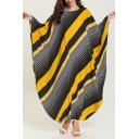 Moslem Casual New Stylish Round Neck Batwing Sleeve Pinstripe Loose Shift Asymmetrical Maxi Dress
