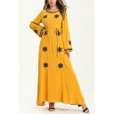 New Stylish Round Neck Long Sleeve Snowflake Print Bow-Tied Waist Yellow A-Line Maxi Dress
