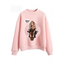 Wine Not Comic Girl Printed Mock Neck Long Sleeve Pullover Casual Sweatshirt