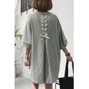 Womens Round Neck Half Sleeve Tie Back Plain Loose Shift T-Shirt Mini Dress