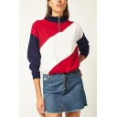 New Stylish Stripe Zipper Front Stand Up Collar Color Block Long Sleeve Red Sweatshirt