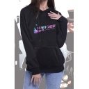 Fashion Halloween Cartoon HI WITCHES Letter Printed Black Loose Fit Hoodie