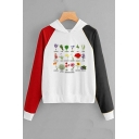 Stylish Letter Plant Printed Long Sleeve Color Block Pullover Hoodie