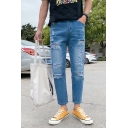 Popular Fashion Simple Plain Light Blue Stretch Relaxed Fit Ripped Jeans for Guys