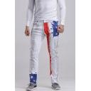 Men's Popular Fashion American Flag Printed White Casual Slim Jeans