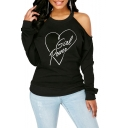 Womens New Trendy Round Neck Cold Shoulder Long Sleeve Girl Power Heart Printed Pullover Sweatshirts