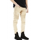 Men's Hot Fashion Simple Plain Cool Pleated Patched Khaki Frayed Ripped Biker Jeans