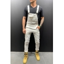 Men's Popular Fashion Simple Plain Slim Fit Bib Overalls