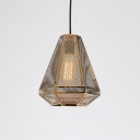 Stainless Diamond Shade Drop Light Designers Style 1 Head Pendant Lamp in Gold with Mesh Cage