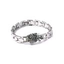 Popular Game of Thrones Wolf Head Logo Alloy Silver Bracelet