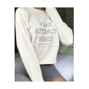 Trendy Long Sleeve Round Neck Reflective Light Letter Vibes Attract Vibes Printed Cropped Sweatshirt