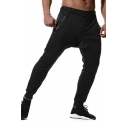 Men's Simple Fashion Basic Plain Zipped Pocket Black Casual Relaxed Jogging Sweatpants