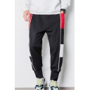 Men's Popular Fashion Colorblock Letter SPORTS Printed Casual Loose Sweatpants