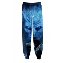 Guys Hot Fashion Drama Figure 3D Printed Drawstring Waist Blue Cotton Relaxed Sweatpants