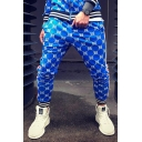 Men's Popular Fashion Contrast Stripe Side Letter B All-over Printed Casual Slim Jogging Pencil Pants