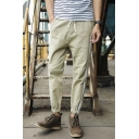 Men's New Fashion Contrast Stripe Side Drawstring Waist Elastic Cuffs Linen Casual Tapered Pants