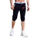 New Fashion Logo Printed Drawstring Waist Men's Cropped Sports Sweatpants
