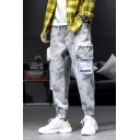 Men's New Fashion Light Grey Camouflage Printed Multi-pocket Trendy Cargo Pants