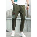Men's New Fashion Letter Pattern Flap Pocket Side Drawstring Waist Casual Sports Cotton Cargo Pants