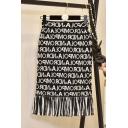 Stylish Womens Black High Waist Tassel Hem Letter Printed Slim Fit Stretch Midi Knitted Skirt