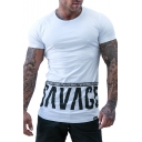 New Stylish Short Sleeve Round Neck Letter Printed Sport Tee