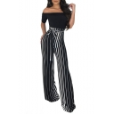 Personalized Off Shoulder Short Sleeve Striped Tie Waist Wide Leg Jumpsuits